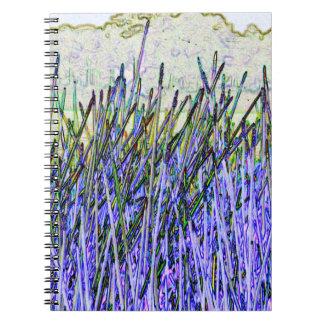 Cañas abstractas en colores púrpuras y blancos libro de apuntes con espiral