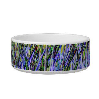 Cañas abstractas en colores púrpuras y blancos tazón para gato