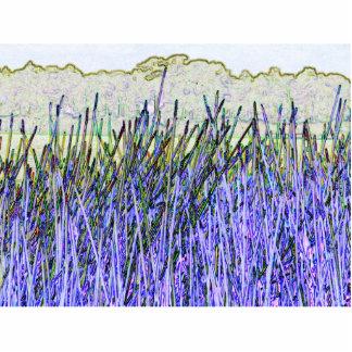 Cañas abstractas en colores púrpuras y blancos esculturas fotográficas
