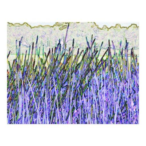 Cañas abstractas en colores púrpuras y blancos flyer a todo color