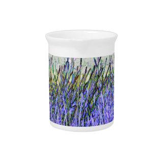 Cañas abstractas en colores púrpuras y blancos jarrones
