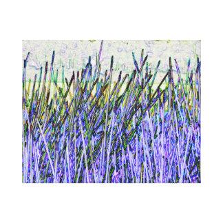 Cañas abstractas en colores púrpuras y blancos lienzo envuelto para galerías
