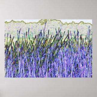 Cañas abstractas en colores púrpuras y blancos impresiones