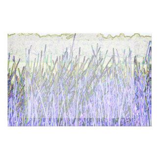 Cañas abstractas en colores púrpuras y blancos papeleria personalizada