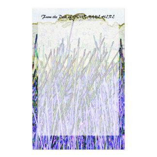 Cañas abstractas en colores púrpuras y blancos papeleria de diseño