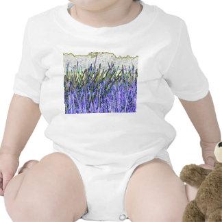 Cañas abstractas en colores púrpuras y blancos trajes de bebé