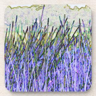Cañas abstractas en colores púrpuras y blancos posavaso
