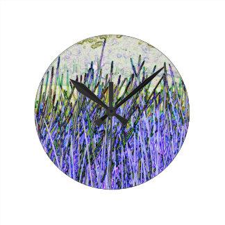 Cañas abstractas en colores púrpuras y blancos reloj