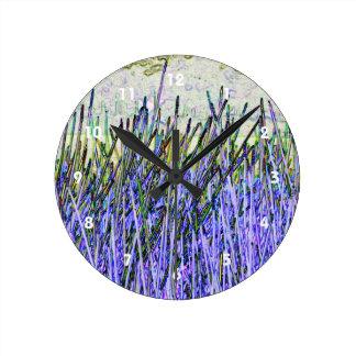 Cañas abstractas en colores púrpuras y blancos relojes de pared