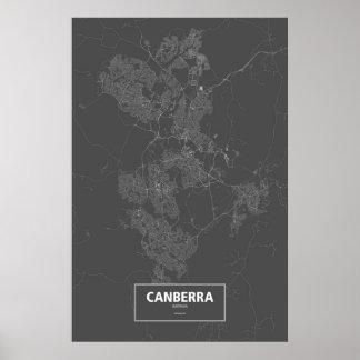 Canberra, Australia (white on black) Poster