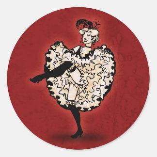Cancan Dancer Classic Round Sticker