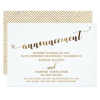 Canceled Wedding Gold Heart Script Announcement