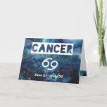 Cancer Astrology Blue Watercolor Galaxy Birthday Card