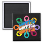 Cancer Awareness Flower Ribbon -  Cancer Survivor 2 Inch Square Magnet