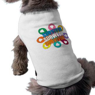 Cancer Awareness Flower Ribbon -  Cancer Survivor Doggie T-shirt