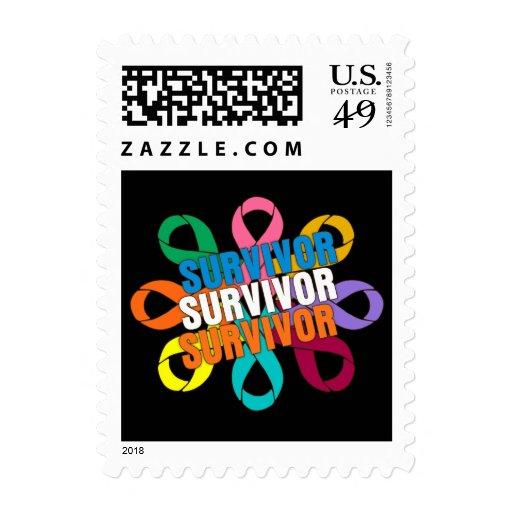 Cancer Awareness Flower Ribbon -  Cancer Survivor Stamp