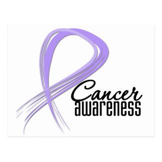 Cancer Awareness Grunge Lavender Ribbon Post Cards