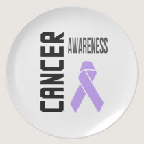 Cancer Awareness Lavender (all cancer) Ribbon Dinner Plate