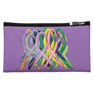 Cancer Awareness Painted Ribbons Cosmetic Bag