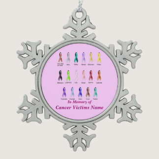CANCER AWARENESS PERSONALIZED SNOWFLAKE PEWTER CHRISTMAS ORNAMENT