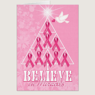 Cancer Awareness Pink Ribbon Christmas Tree Card