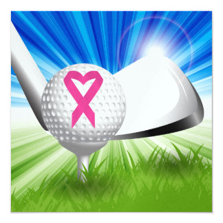 Cancer Awareness Pink Ribbon Golf 5.25x5.25 Square Paper Invitation Card