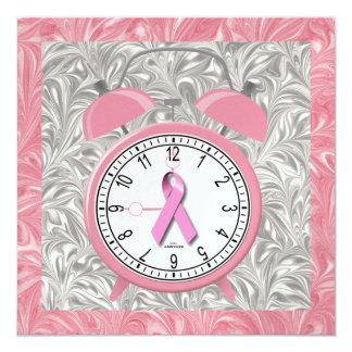 Cancer Awareness - Pink Ribbon 5.25x5.25 Square Paper Invitation Card