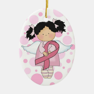 Cancer Awareness Pink Ribbon  - SRF Double-Sided Oval Ceramic Christmas Ornament