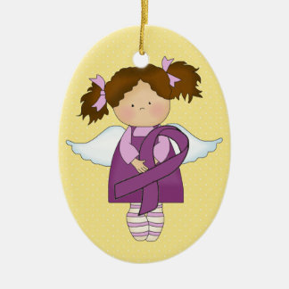 Cancer Awareness Purple Ribbon  - SRF Double-Sided Oval Ceramic Christmas Ornament