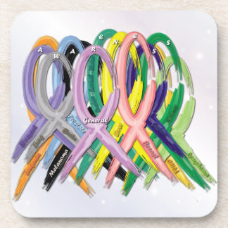Cancer Awareness Ribbons Beverage Coaster