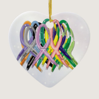 Cancer Awareness Ribbons Ceramic Ornament