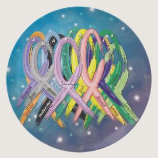 Cancer Awareness Ribbons Dinner Plate