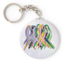 Cancer Awareness Ribbons Keychain
