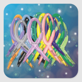 Cancer Awareness Ribbons Square Sticker