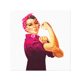 Cancer Awareness Rosie The Riveter Gallery Wrapped Canvas