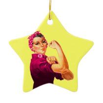 Cancer Awareness Rosie The Riveter Ceramic Ornament