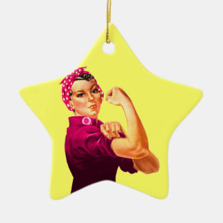 Cancer Awareness Rosie The Riveter Ceramic Ornament