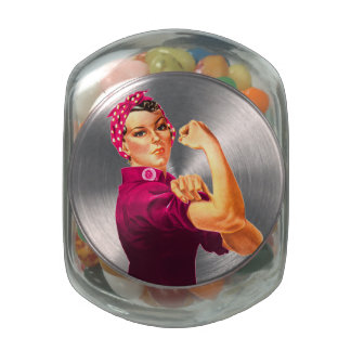 Cancer Awareness Rosie The Riveter Jelly Belly Candy Jar