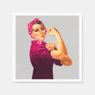 Cancer Awareness Rosie The Riveter Napkin