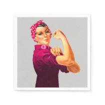 Cancer Awareness Rosie The Riveter Napkins