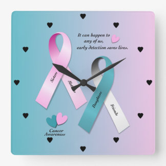 Cancer Awareness Square Wall Clock