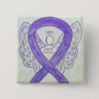 Cancer Awareness Violet Ribbon Angel Custom Pins