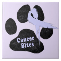 Cancer Bites - Canine Stomach Cancer Awareness Ceramic Tile