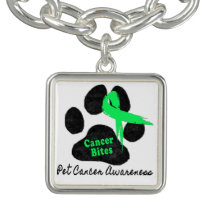 Cancer Bites Quote  - Hodgkins Lymphoma Cancer - L Charm Bracelet