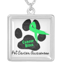 Cancer Bites Quote  - Hodgkins Lymphoma Cancer - L Silver Plated Necklace