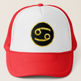 Cancer Black Gold Crest Trucker Hat