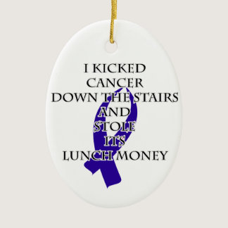 Cancer Bully (Dark Blue Ribbon) Ceramic Ornament