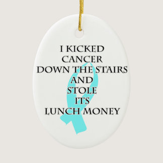 Cancer Bully (Light Blue Ribbon) Ceramic Ornament