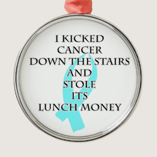 Cancer Bully (Light Blue Ribbon) Metal Ornament