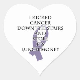 Cancer Bully (Light Purple Ribbon) Heart Sticker